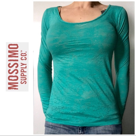 2a178d2c Mossimo Supply Co. Tops | Teal Turquoise Long Sleeved Burnout Top ...